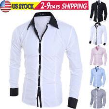 NEW Stylish Mens Casual Button Slim Fit Long Sleeve Casual Formal Dress Shirts
