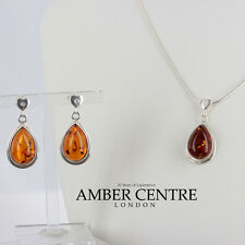 Cognac Baltic Amber Earrings/Necklace Set with Zirconia Elements RRP£92!!