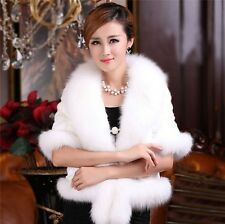 New Womens Winter Faux Fox Fur Collar Wool Jacket Long Outerwear Trench Coat