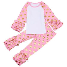 Baby Girl Kid Shirt Pants Icing Ruffle Blouse Top Legging Trousers Bottom Outfit