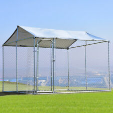 Large Pet Dog Run House Kennel Shade Cage 10' x 10' Roof Cover Backyard Playpen
