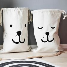 1Pc Canvas Baby Kids Toy Organizer Storage Bag Drawstring Tightening Laundry Bag