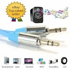 Blue 3.5mm Jack to Jack Male Stereo Audio Cable Mobile Phones Music PC Mp3/4