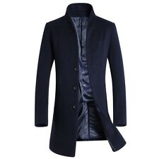 Men Winter Trench Coat Jacket Collar Wool Woolen Cloth With Thick Dust Coat