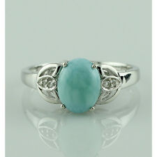 Larimar,White Topaz in 925 Sterling Silver Solitaire With Accents Ring GSR878