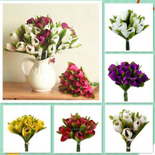 Artificial Tulip Silk Flowers Bouquet Bridal Bouquet Wedding Decor 6 Colors PICK