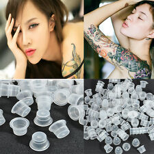 200X Clear White Plastic Tattoo Ink Cups Small/Medium/Large Caps Holder Supplies