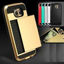 Hybrid Armour Hard Back Card Storage Slide Case Cover For Apple iPhone Models