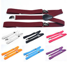 Womens Mens Elastic Clip-on Solid Color Y-Shape Adjustable Braces Suspenders d01