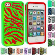 Color 2-Piece Hybrid Zebra Hard/Soft Case Cover for iPhone 4 4G 4S Accessory