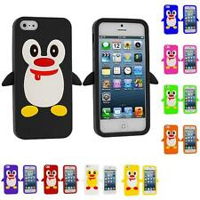 For iPhone 5 5G 5S Penguin Cute Silicone Color Rubber Skin Case Cover