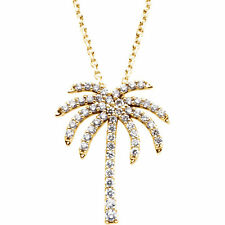 Genuine Diamonds 1/3 ct tw G-H  I1 Palm Tree Pendant Necklace in 14K. Solid Gold