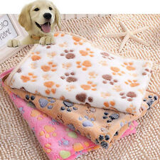Warm Pet Mat Small Large Paw Print Cat Dog Puppy Fleece Soft Blanket Bed Cushion