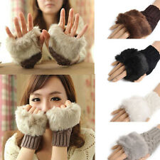 Fashion Women's fur Knitted Fingerless Winter Gloves Unisex Soft Warm Mittens a2