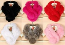 New Warm Women Winter Real Rabbit fur Scarf Stole Cape Collar Wrap Scarves Shawl