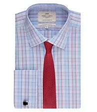 Hawes & Curtis Mens Long Sleeve Multi Check Slim Fit Shirt Double Cuff