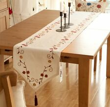 Trendy Floral Embroidered Cotton Linen Tassel Table Runner Cloth Bed Flag Beige