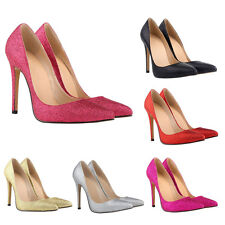 S Ladies Bling Sexy 11CM  High Heels Shallow Mouth Pointed Glitter Pumps Shoes