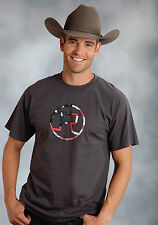 Roper Mens Graphic Tee T-Shirt Grey 100% Cotton S/S American Flag Circle