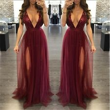 Women Sling Deep V Neck Backless Sequined Nightclub Maxi Dress |