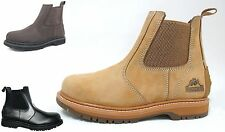 MENS SAFETY CHELSEA SLIP ON WORK BOOTS GROUNDWORK GR20 STEEL TOE CAP ANTI SLIP