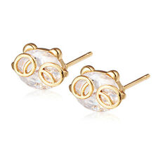 Fashion Gold Filled Charm Crystal Korean Cute Bear Womens Hoop Earrings