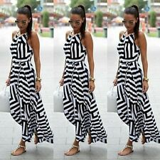 Women Boho Striped Long Maxi halter dress party striped dress beach dresses