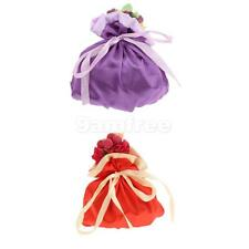White Satin Drawstring Wedding Party Favor Candy Gift Bag Pouch Purse 14 x 13cm