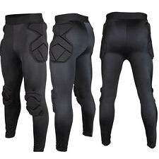 New Sport Soccer Jersey Mens Goal Keeper Goalie Athlic Padded Long Pants Black