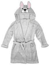 Girls Dressing Gown Bunny Rabbit Face Fleece Hooded Bath Robe Kids 2 to 11 Years
