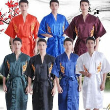 Hot Sale Men's Silk/Satin Japanese Chinese Kimono Dressing Gown Robe Nightwear