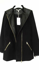 GORGEOUS NEW ZARA BLACK ZIPPED JACKET WITH FAUX LEATHER DETAIL SIZE S