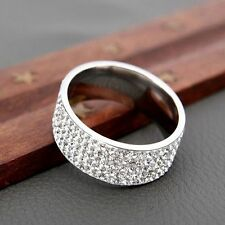 Couple Gold Silver Rings Wedding Band Ring Men/Women's CZ Stainless Steel