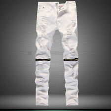 Mens Designed Straight Slim Fit Ripped Denim Jeans Trousers Casual Skinny Pants