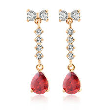 Rhinestone Cute Bow Teardrop Dangle Long Stud Earrings 18K Gold Plated earings