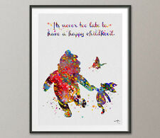 Winnie the Pooh with Piglet Quote it's never too late Watercolor Art Print Wall