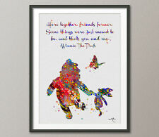 Winnie the Pooh with Piglet Quote Watercolor illustrations Print Wall Art 8
