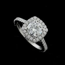 Double Halo Diamond Platinum 950 Engagement Ring Forever Brilliant Moissanite