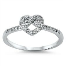 STERLING SILVER Simulated Diamond Infinity Heart Knot Ring Size 9 10 11 12 T V X