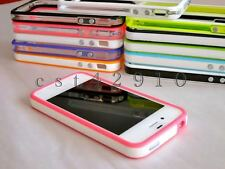 For iPhone 4 4S 4G Bumper Frame TPU Silicone Case w/ Metal Buttons
