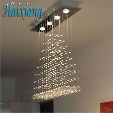 LED Lighting Rectangular Crystal Ceiling Lamp Chandelier Pendant Shade Fixtures