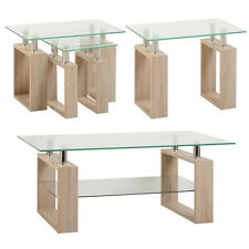 Glass Topped Coffee Side End Nested Occasional Table Somona Oak Legs Milan Range