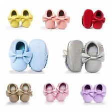 Newborn Baby Kids Soft Sole Shoes Boys Girls Toddler Leather Crib Shoes 0-18M