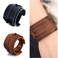 Punk Style Unisex Men Leather Strap Double Wide Bracelet Wrist Band Cuff Bangle