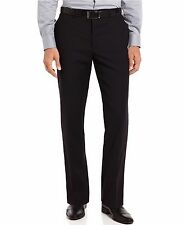 NWT CALVIN KLEIN Mens Black Wool Slim Fit Flat Front Dress Pants Trousers  $150
