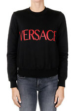 VERSACE New woman Black Round Neck Embroidery Logo Sweatshirt Made in Italy NWT