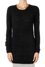 RICK OWENS New Woman Black Wool mohair Round neck Sweater Tee  jumper Made Italy