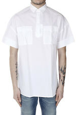 VALENTINO Men White Short Sleeved Cotton Shirt Made in Italy New with Tag