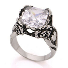 Punk Mens Womens Cool Silver Flower AAA Zircon Crystal 316L Stainless Steel Ring