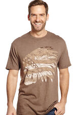 Cowboy Up Mens Brown Cotton S/S T-Shirt Indian Skull